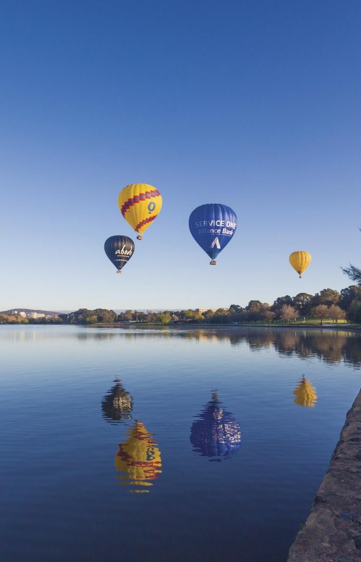 Balloons over Lake Burley Griffin, Canberra, ACT © VisitCanberra
