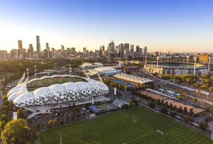 Aerial view over Melbourne Sport Precinct in Melbourne, Victoria © Tim Shaw