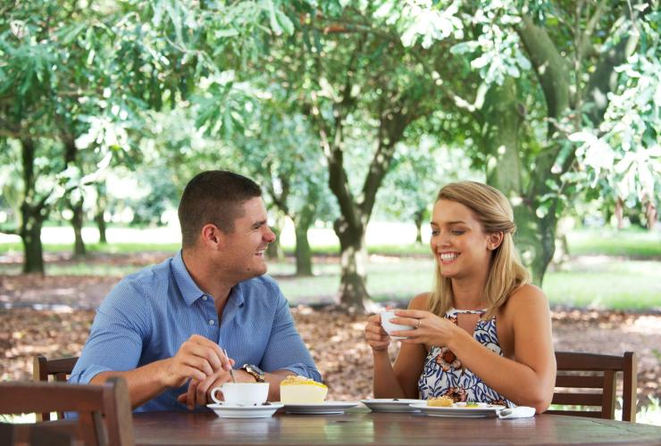 Couple enjoying tea and cake at Medowie Macadamias in Port Stephens © Destination Port Stephens