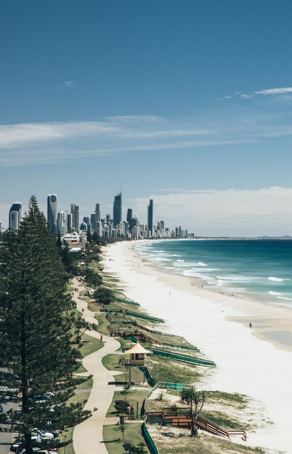 View over main beach with the Gold Coast skyline in the distance © Tourism and Events Queensland