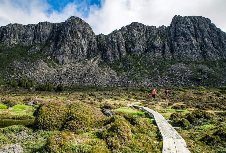 Hikers walking on a trail in the Walls of Jerusalem National Park © O&M St John Photography/Tourism Tasmania