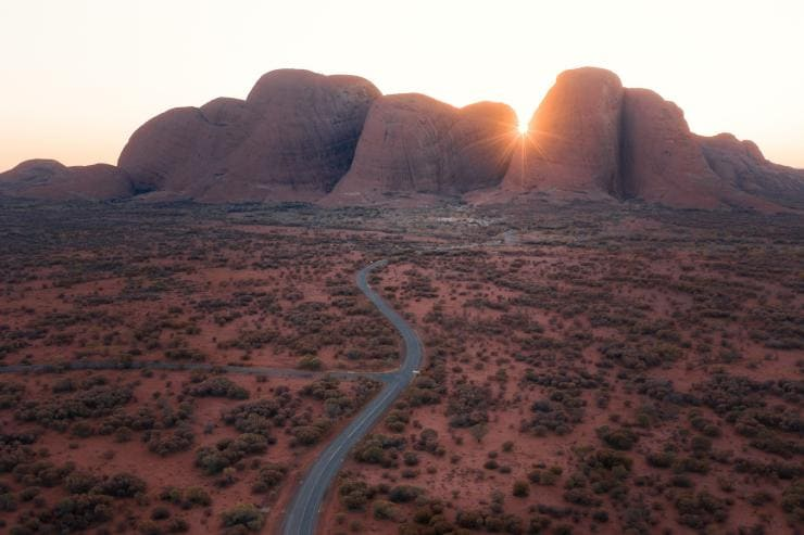 Aerial view of Kata Tjuta in the Northern Territory © Tourism NT/Nic Morley