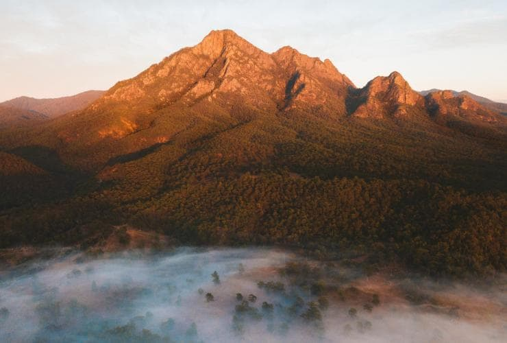 The rugged Mount Barney sits behind a valley covered in mist in Queensland's Scenic Rim © Tourism and Events Queensland