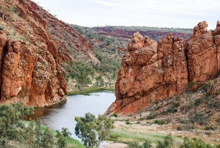 A freshwater gorge runs through red rock cliffs on either side in the West MacDonnell Ranges © Tourism NT/Mel Brautigam