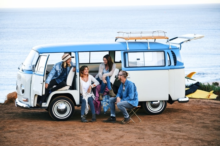 Group of friends in a camper van near Injidup Beach ©  Tourism Western Australia