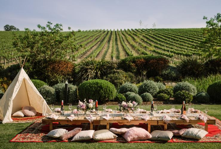 Long table set up for lunch overlooking grapevines at Golding Wines © Adelaide Hills Wine Region