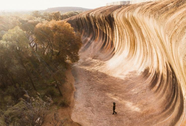 Person standing below Wave Rock in Hyden © Australia's Golden Outback