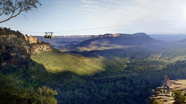 Scenic World's aerial cable car, Katoomba, Blue Mountains, NSW © Scenic World
