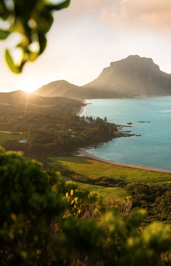 Aerial overlooking a car and boat trailer on The Lagoon Beach, Lord Howe Island © Zach Sanders
