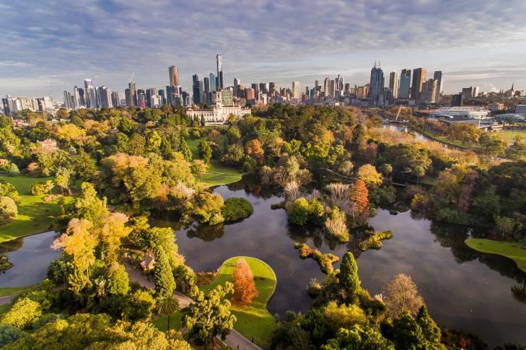 Aerial view of the Royal Botanic Gardens © Visit Victoria