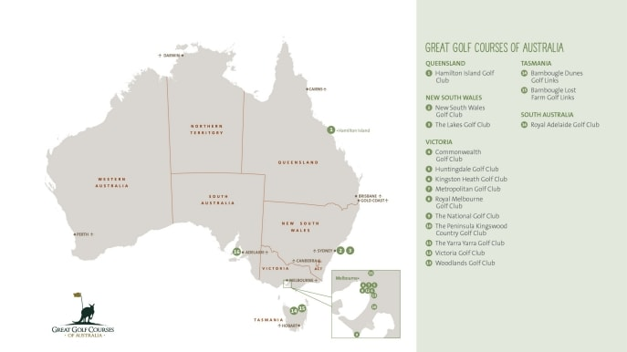 Great Golf Courses of Australia map