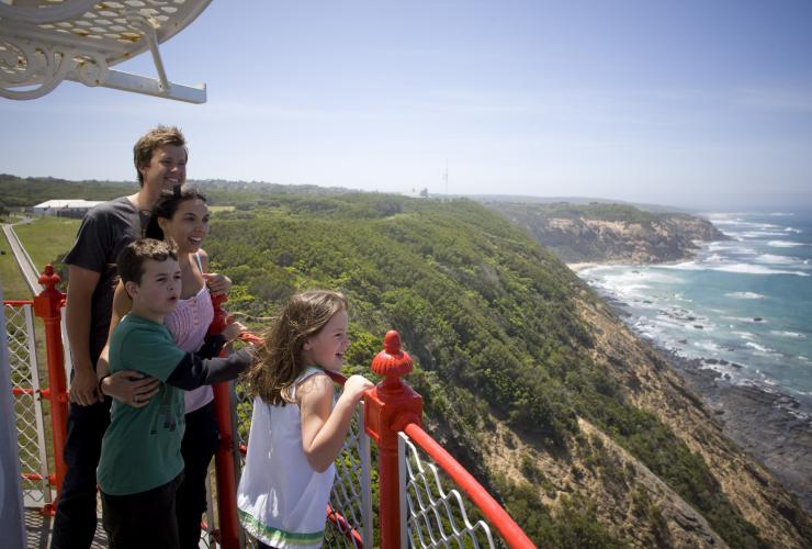 Family on balcony of Cape Otway Lighthouse © Visit Victoria