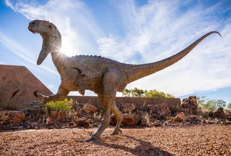 A model dinosaur at Australia's Dinosaur Trail in Winton, Queensland © Tourism and Events Queensland