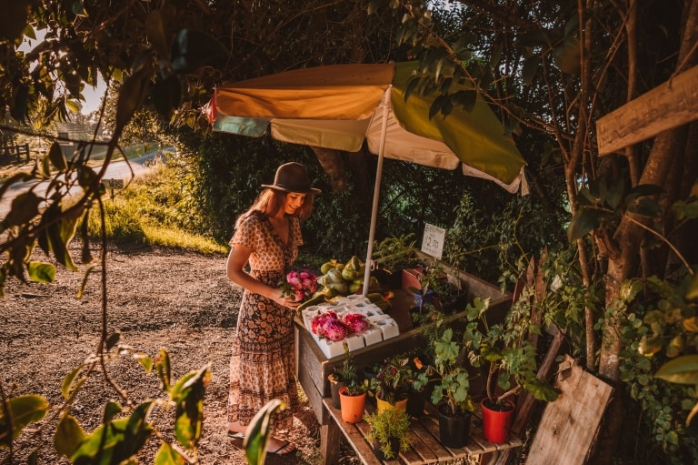 Woman picking out local produce from a farm stall on Tamborine Mountain © Tourism and Events Queensland