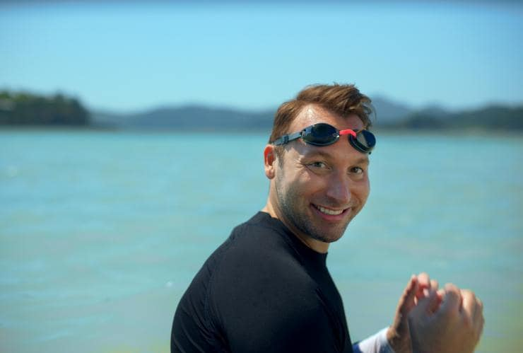 Ian Thorpe at Heart Reef, Whitsundays, QLD © Tourism Australia