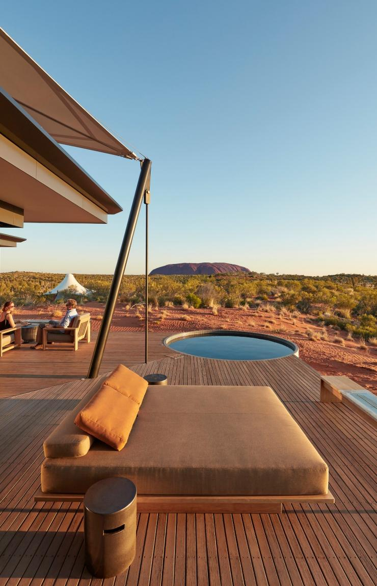 The Dune Pavilion Deck with views of Uluru at Longitude 131 in the Northern Territory © Baillies Longitude 131