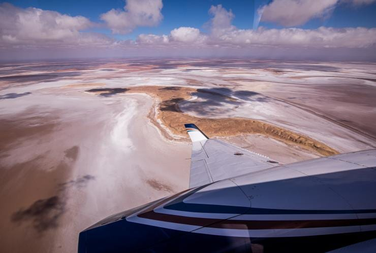 View out plane window above Kati Thanda-Lake Eyre © Sky Dance