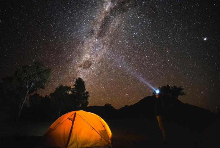 The night sky filled with bright stars over the dark sky park in the Warrumbungles © Destination NSW