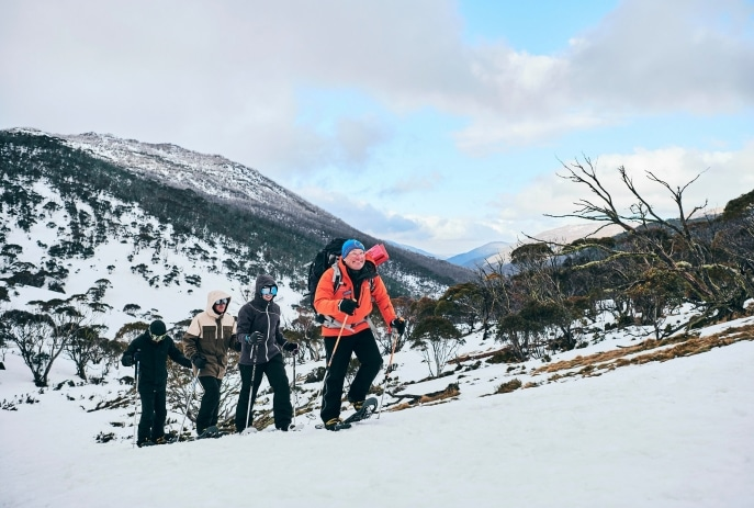 Snowshoeing in Thredbo, Snowy Mountains, NSW © Destination NSW