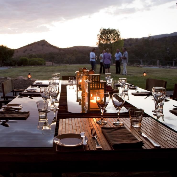 View of the surrounding Flinders Ranges from dining table at Arkaba Conservancy in South Australia © Arkaba Conservancy/Randy Larcombe