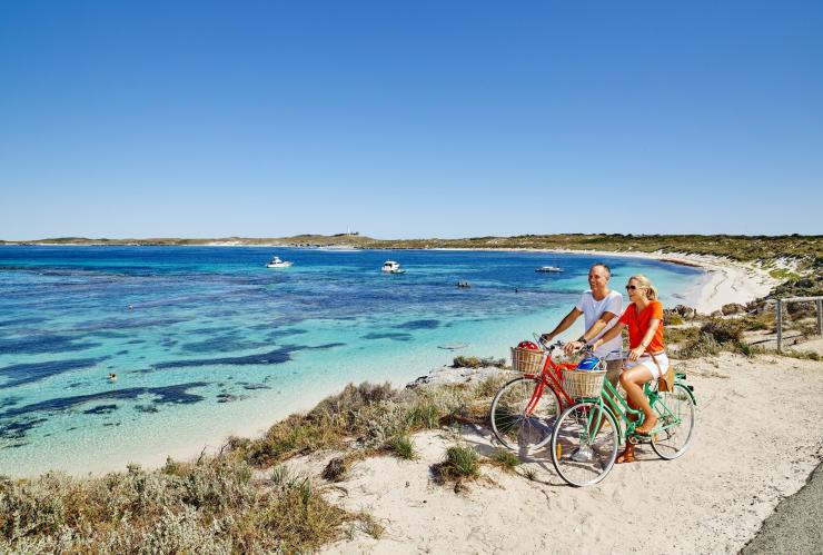 Couple cycling on Rottnest Island, Rottnest Island, WA © Tourism Western Australia