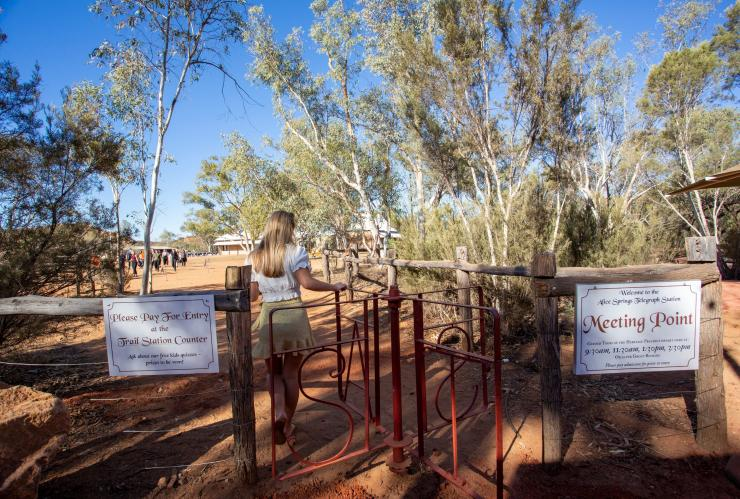 Woman at Alice Springs Telegraph Station in Alice Springs © Tourism Australia