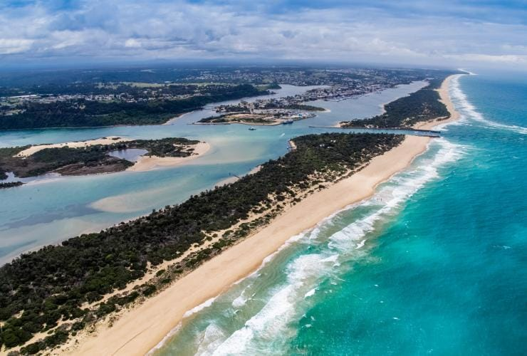 Aerial view of Lakes Entrance in Gippsland © Visit Victoria