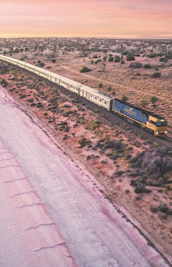 Indian Pacific Train, Lake Hart, SA © Journey Beyond