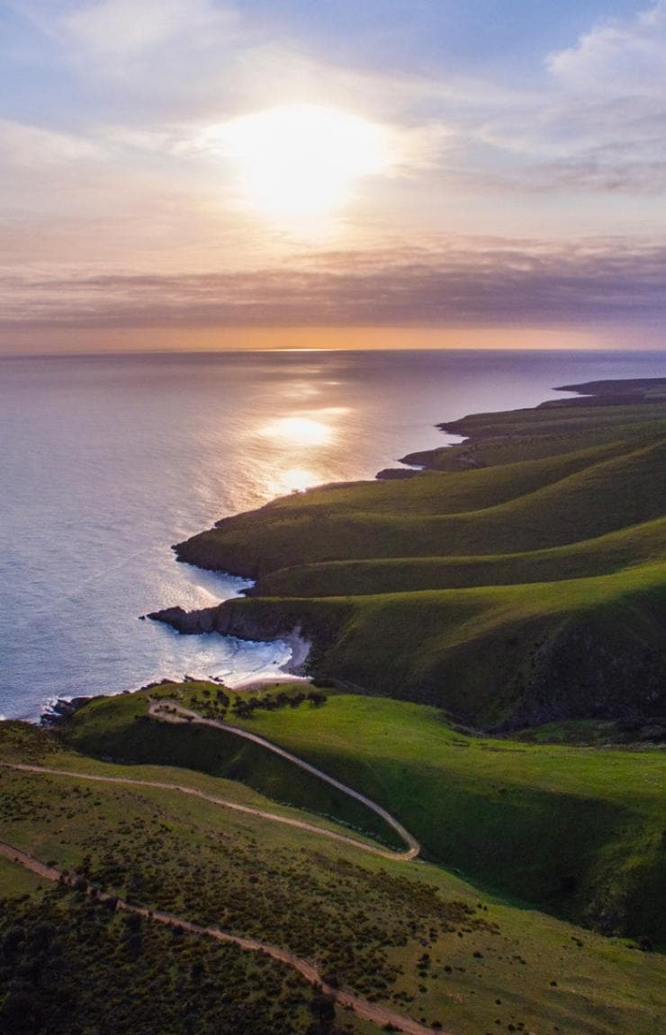 Girl enjoying picnic near the beach on South Australia's Fleurieu Peninsula © Elise Cook