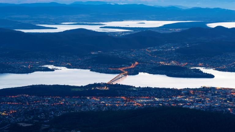 Hobart and Tasman Bridge from kunanyi/Mt Wellington, Hobart, TAS © Luke Tscharke