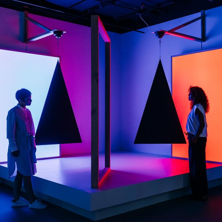 Pepper's ghost effect, triangles, cyan and red by Taree Mackenzie at ACMI Melbourne, Victoria © ACMI Melbourne