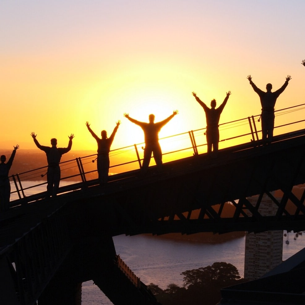 Climbing the Sydney Harbour Bridge at sunset © BridgeClimb