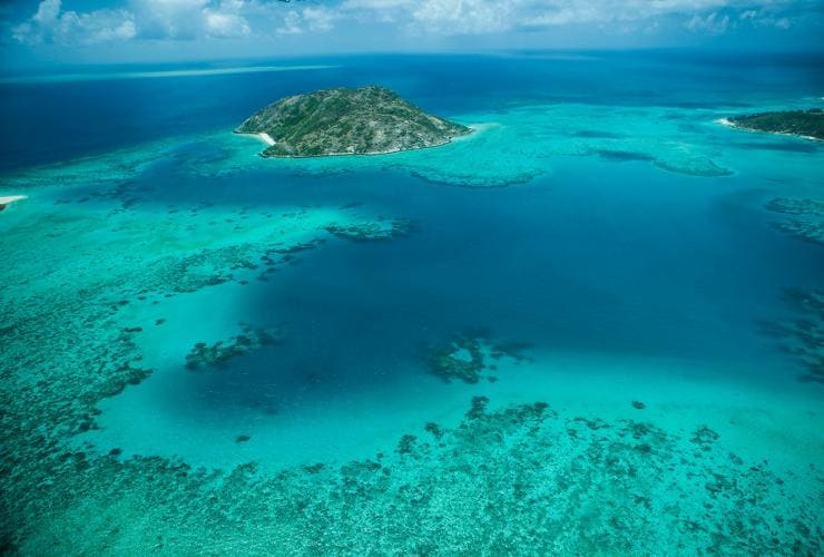 Aerial shot of Lizard Island and surrounds, Great Barrier Reef, QLD © Lizard Island