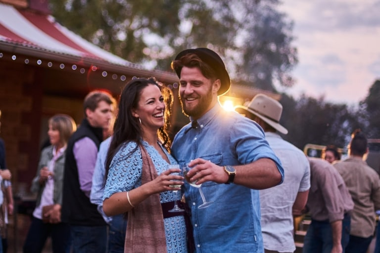 Couple at Prairie Hotel in outback South Australia © South Australian Tourism Commission