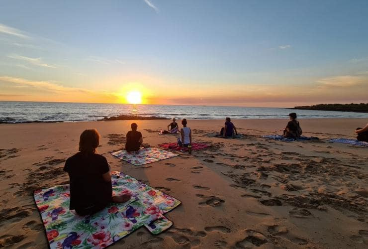 Yoga on the beach at Balance for Life Retreat at Dundee Beach © Balance for Life Yoga & Wellness Retreats