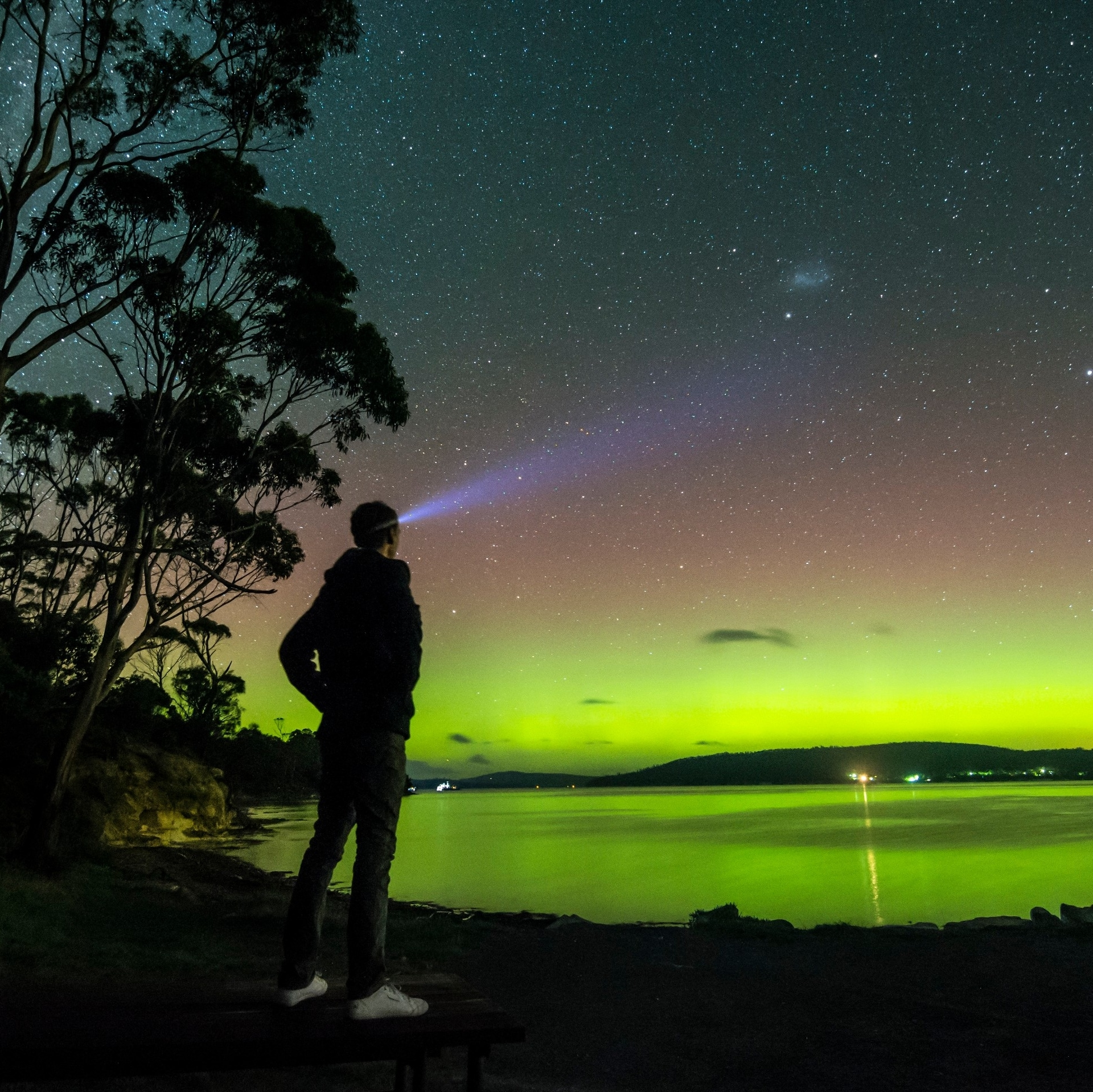 Man with head torch gazes at the Aurora Australis near Howden © Simon Kruit