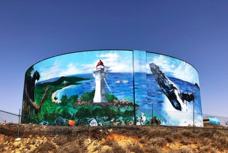 Painted water tower on the side of the road in Bowen © Australian Silo Art Trail