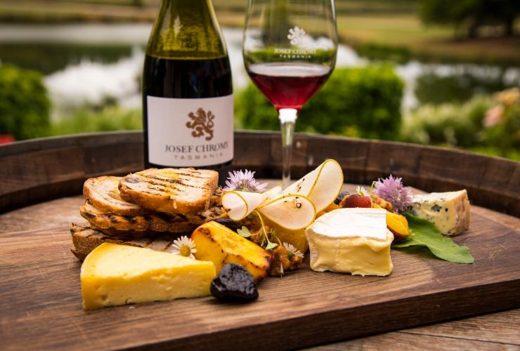 Wine and cheese plate, Josef Chromy Winery, Relbia, TAS © Rob Burnett Images