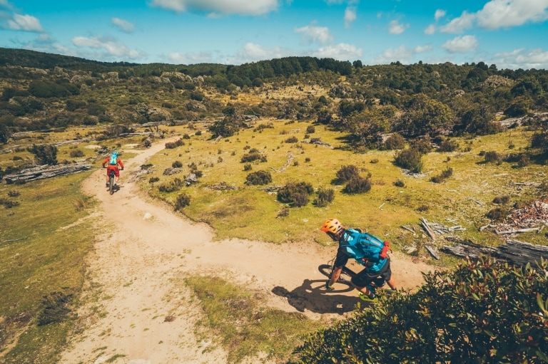 Two people mountain biking on the Blue Derby bike trail © Flow Mountain Bike