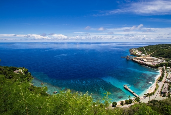 View of Flying Fish Cove from Territory Day Park, Christmas Island © Tourism Australia
