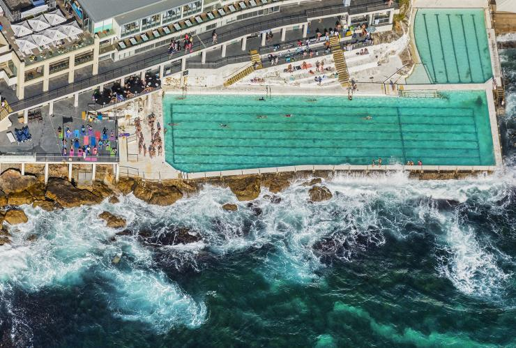 Aerial of Bondi Icebergs, Sydney, NSW © Destination NSW