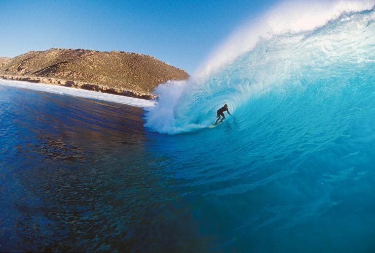 Surfing at Gnaraloo Station, near Carnarvon, Coral Coast, Ningaloo Reef, WA © Coral Coast Tourism