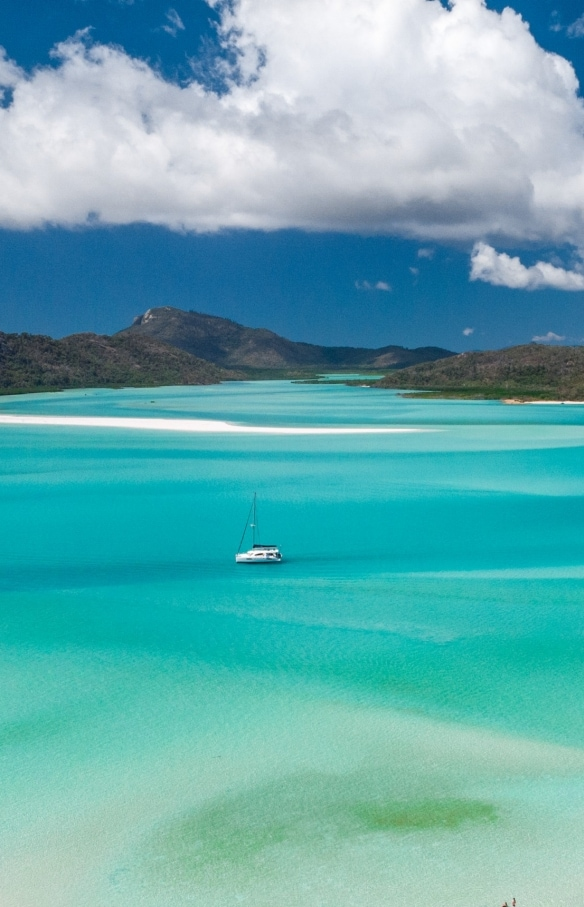 Aerial view looking towards Whitehaven Beach from Hill Inlet in the Whitsundays ©  Tourism and Events Queensland