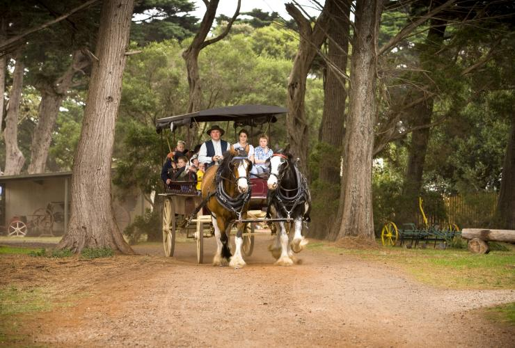 Horse drawn wagon, Churchill Island, VIC © Visit Victoria