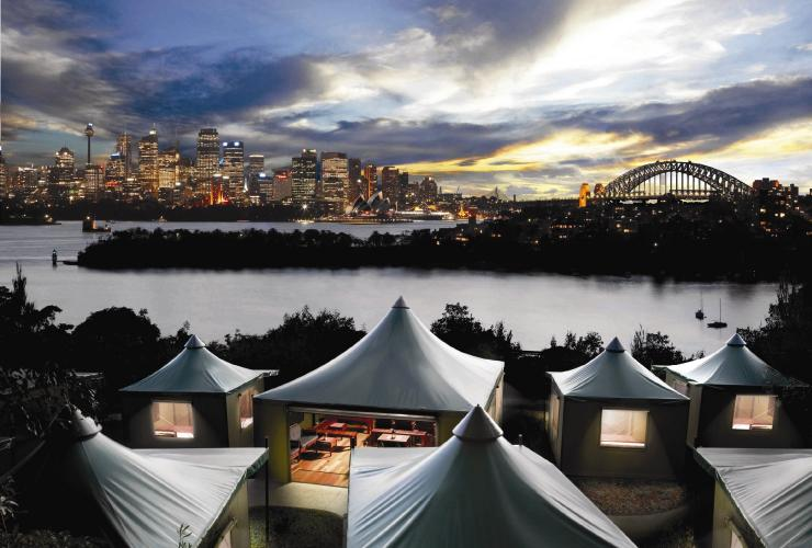 Roar and Snore glamping experience, Taronga Zoo, Sydney, NSW © Destination NSW