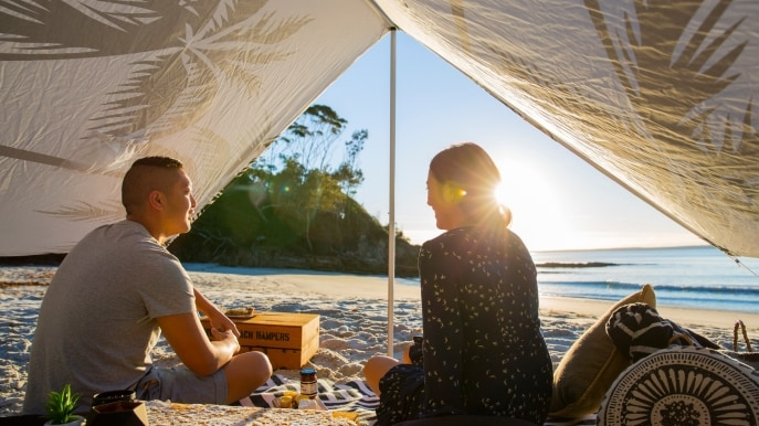 Picnic a cura di Hyams Beach Hampers, Blenheim Beach, Jervis Bay, New South Wales © Destination New South Wales