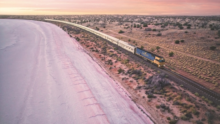 Indian Pacific Train, Lake Hart, South Australia © Journey Beyond