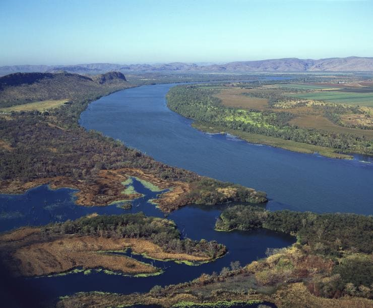 Aerial view of the winding Ord River © Tourism Australia