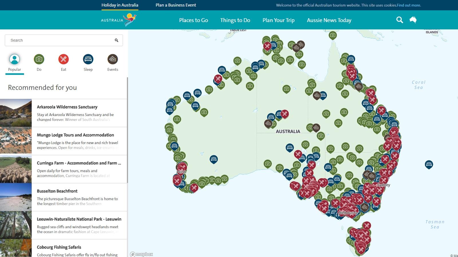 Explore Australia by map - Tourism Australia