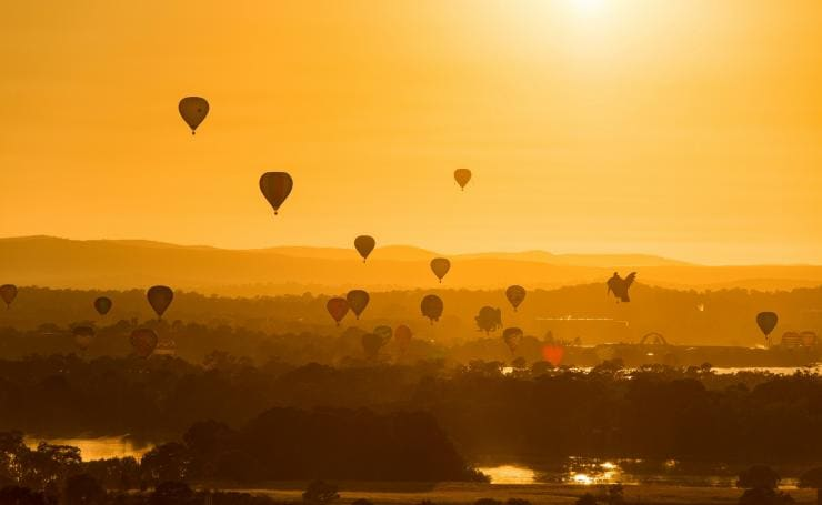 Sunrise during Canberra Balloon Spectacular, Canberra, Australian Capital Territory © Enlighten Festival